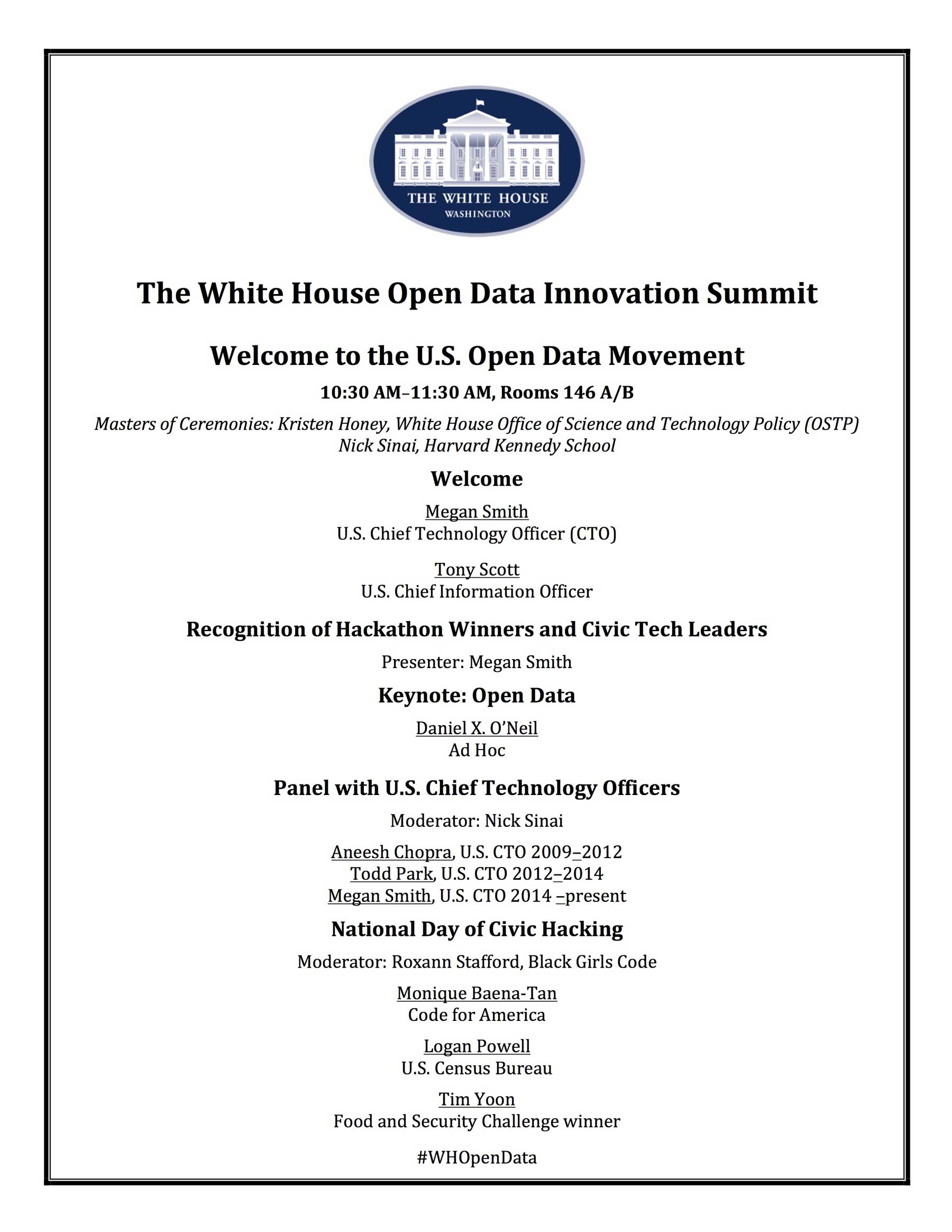 Open Data summit program