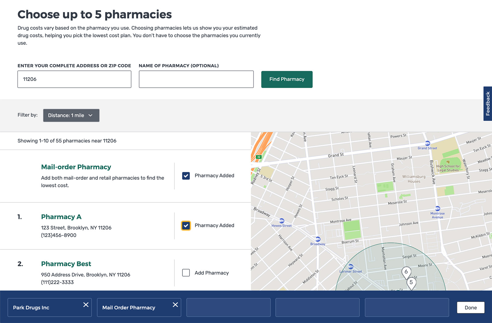 Screenshot showing the page to choose a pharmacy, with pharmacy names, addresses, and a map.