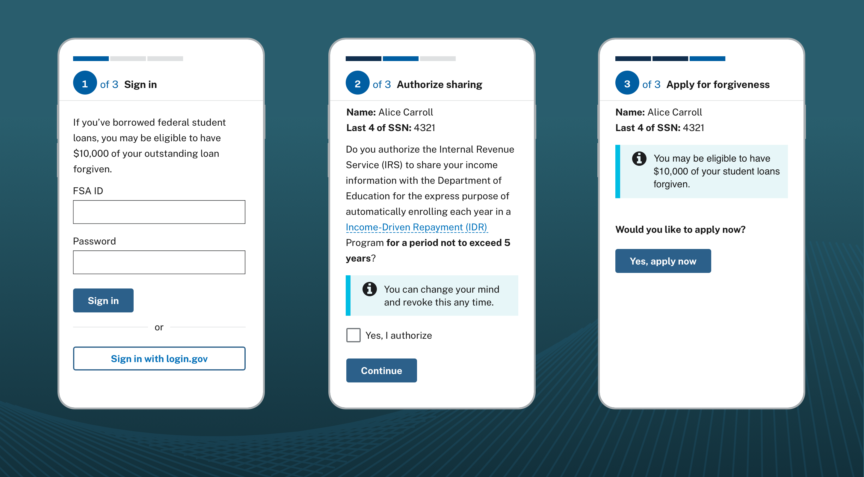 An image of 3 mobile screens representing a three-step process. The first screen has a sign in form. The second screen has information about IDR plans and a checkbox. The last screen has a single button to submit a combined student loan forgiveness and IDR application.
